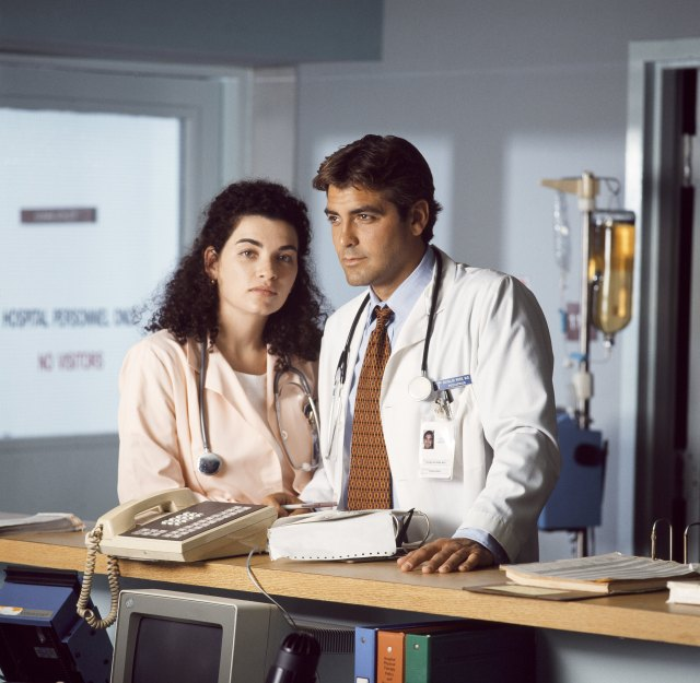 George Clooney with co-star Julianna Marguliesin TV drama ER