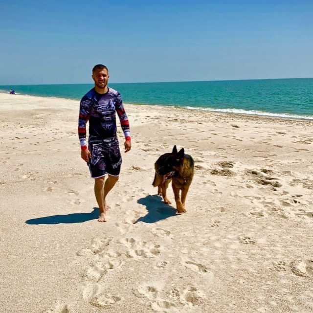 During training camps Lomachenko would race against his German Shepherd on the beach