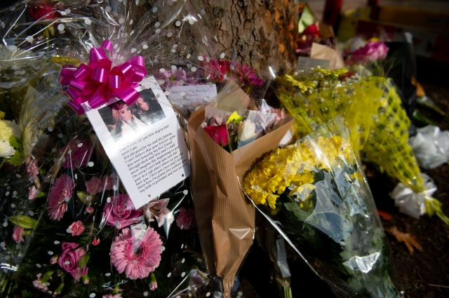 Floral tributes were left for the youngsters at the scene