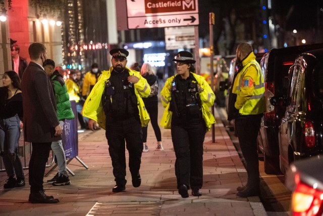 Police were seen out on the streets making sure revellers complied with Covid rules