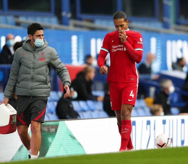 Van Dijk hobbled off after the coming together with the Everton keeper