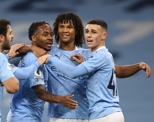 Manchester City celebrate Sterling's opener