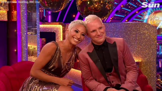 The Strictly couple both have short bleached blonde haircuts