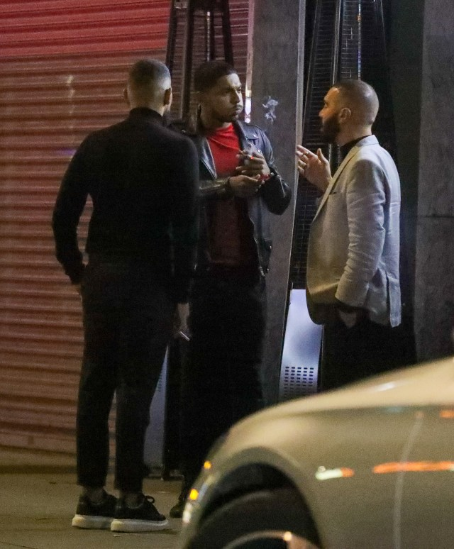 Jesy was out with boyfriend Sean Sagar, centre, and pals