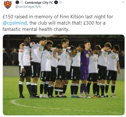 Former Cambridge City FC youngster, Kitson's teammates held a minute of silence in tribute on their home ground