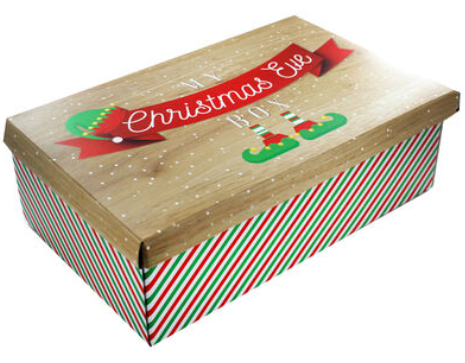 The Works' Christmas Eve boxes have cute green and red striped design