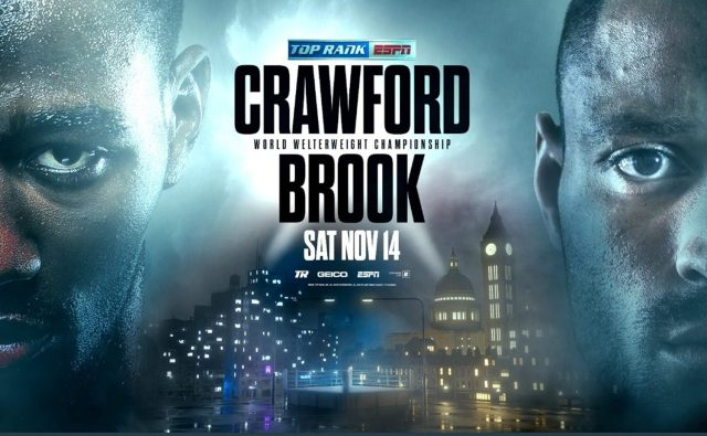 Terence Crawford defends his WBO welterweight belt against Kell Brook on November 14