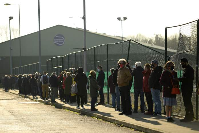 People waited in huge queues for Operation Moonshot tests