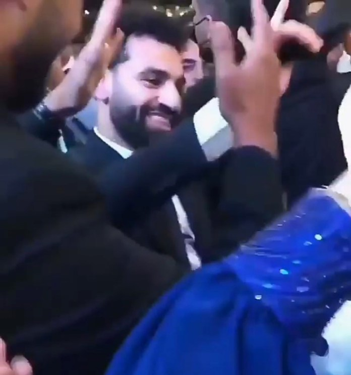 Salah could be seen having fun during the celebrations