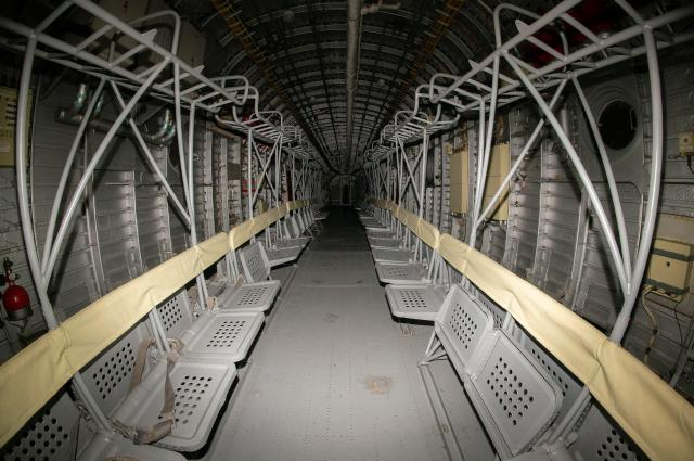 Inside the A-90 Orlyonok. Seats show where paratroopers would sit ready to disembark the aircraft