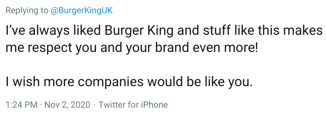 Burger King fans have been praising the fast food company