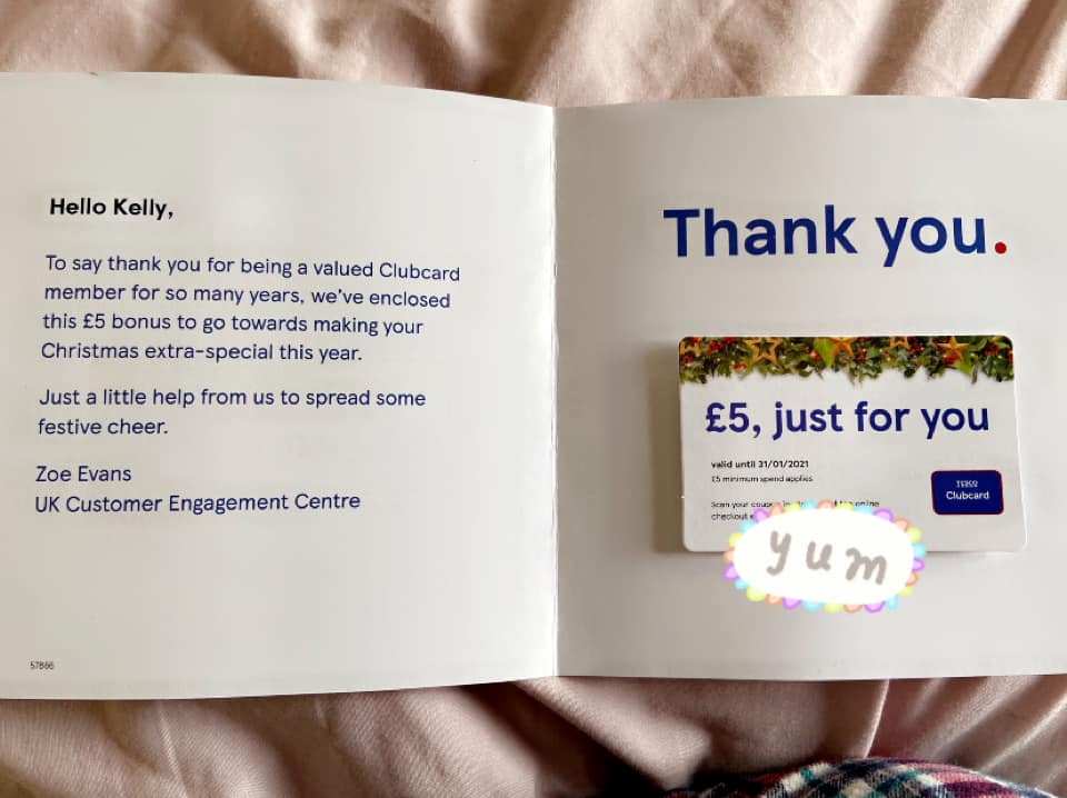 Tesco is giving out £5 vouchers to loyal Clubcard customers this winter