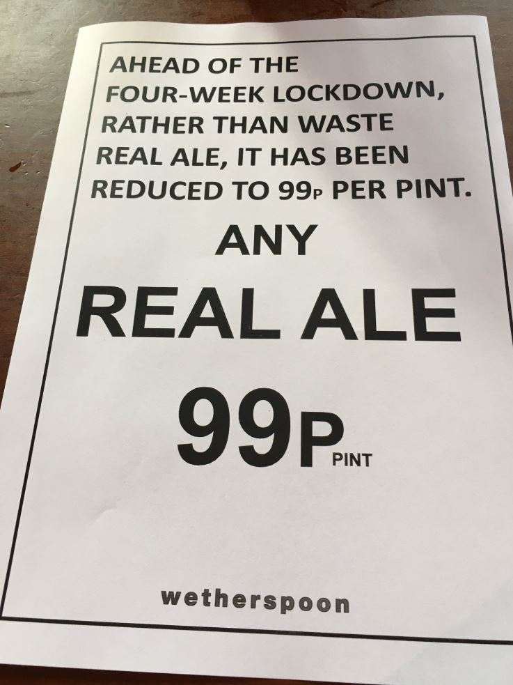 One delighted customer was handed this flyer when he got to his local pub