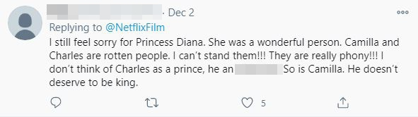 Tweets below the post call the Prince of Wales 'bogus'