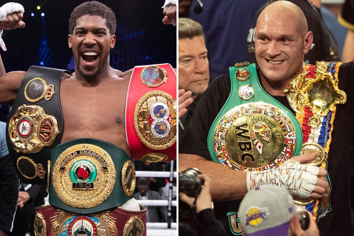 Tyson Fury and Anthony Joshua could drop ALL five of their world title belts  to secure £500m double fight deal