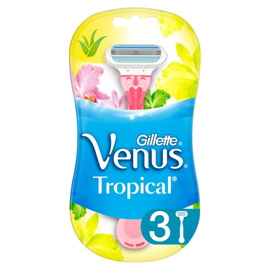 A three-pack of Gillette Venus Tropical disposable razors is £3.50, down from £5.35 at Tesco when you scan your clubcard