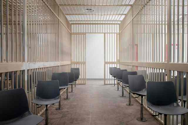 One of the detained defendants' cells inside a new bunker room built for the upcoming mafia trial