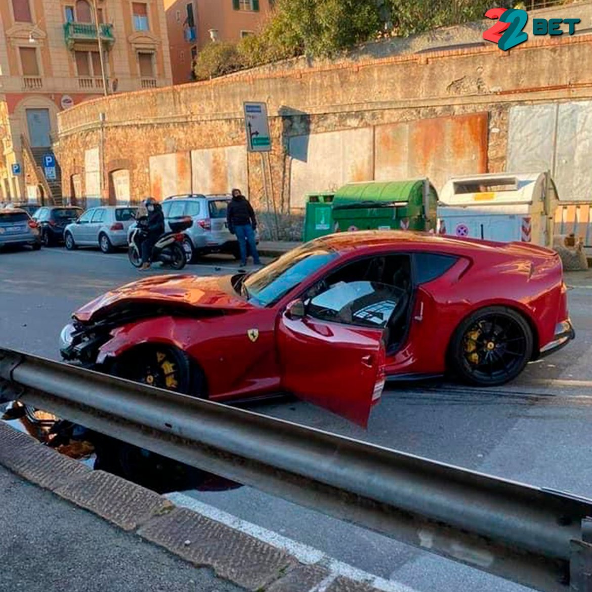 The Ferrari 812 Superfast was left a mangled wreck after the worker crashed it a safety barrier
