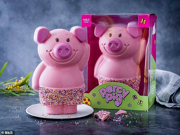 The giant pink chocolate Percy Pig is £10 at M&S