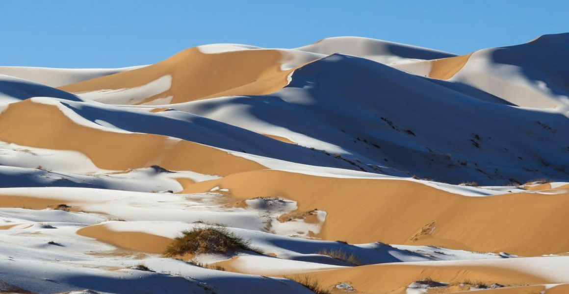 Snow in the Sahara Desert near Aïn Séfra in Algeria