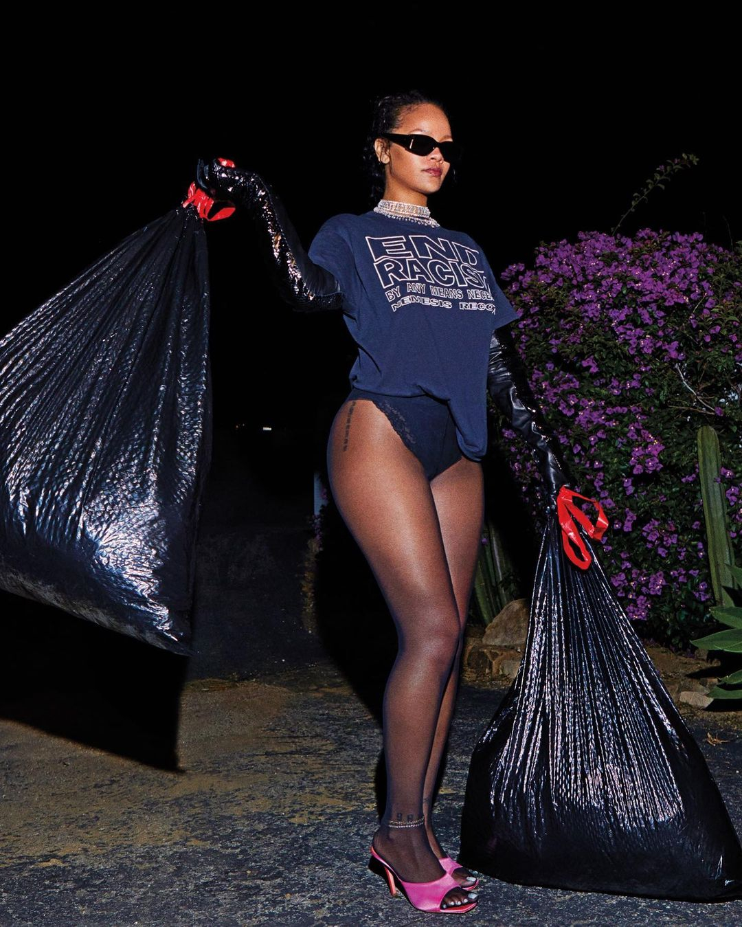 Rihanna showed off her pins taking out the trash in an End Racism shirt