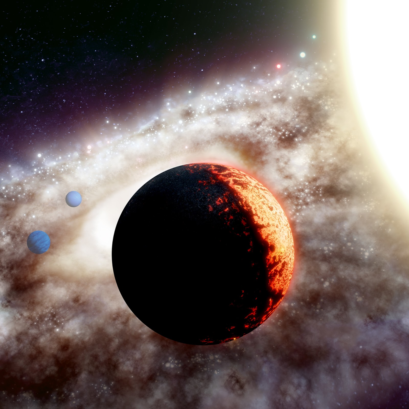 Artist's impression of TOI-561, a star system 280 light-years from Earth