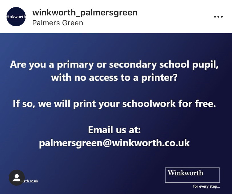 Estate agent Winkworth is offering to print school work for free
