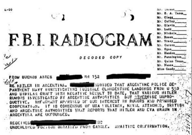 FBI radiogram showing fears of 'clandestine landings' by Nazis