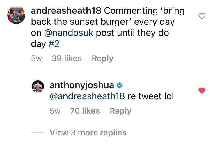 Andreas's campaign took off when AJ commented