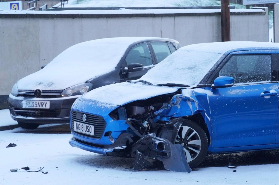The snow has caused chaos on the roads, with one crash taking place on a carriageway in Hexham, Northumberland