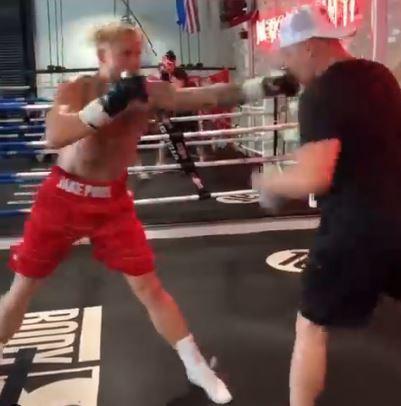 Jake Paul training for his next fight against Ben Askren