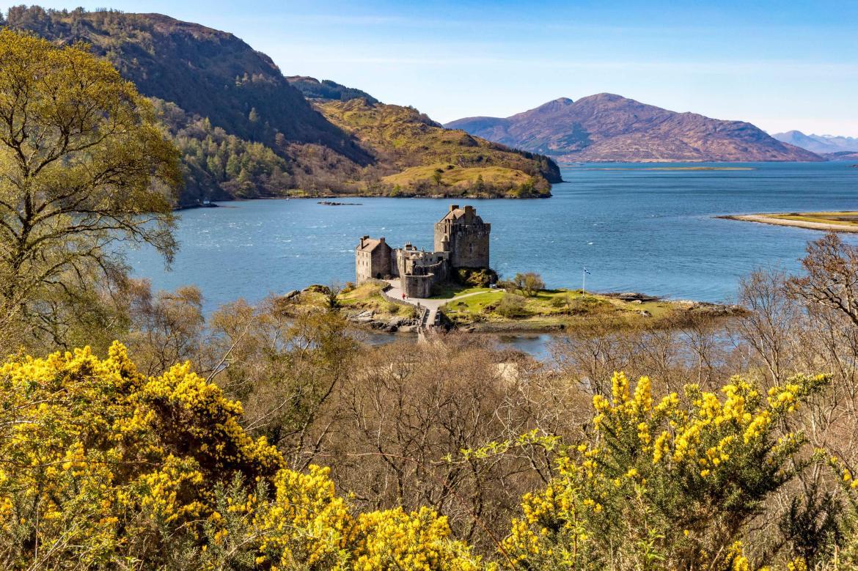 Eileen Donan Castle bathed in light looking along Lochalsh