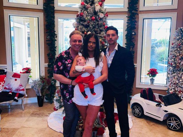 Saffron's dad Barrie, left, has now had a baby with her ex-boyfriend Scott, right