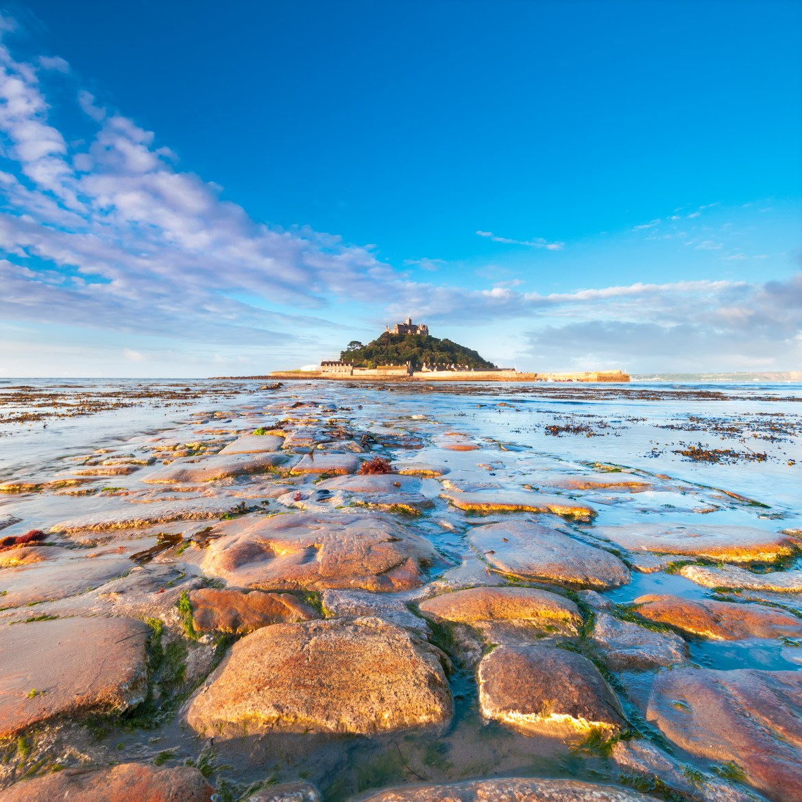 There are fine views of the ancient tidal island of St Michael's Mount