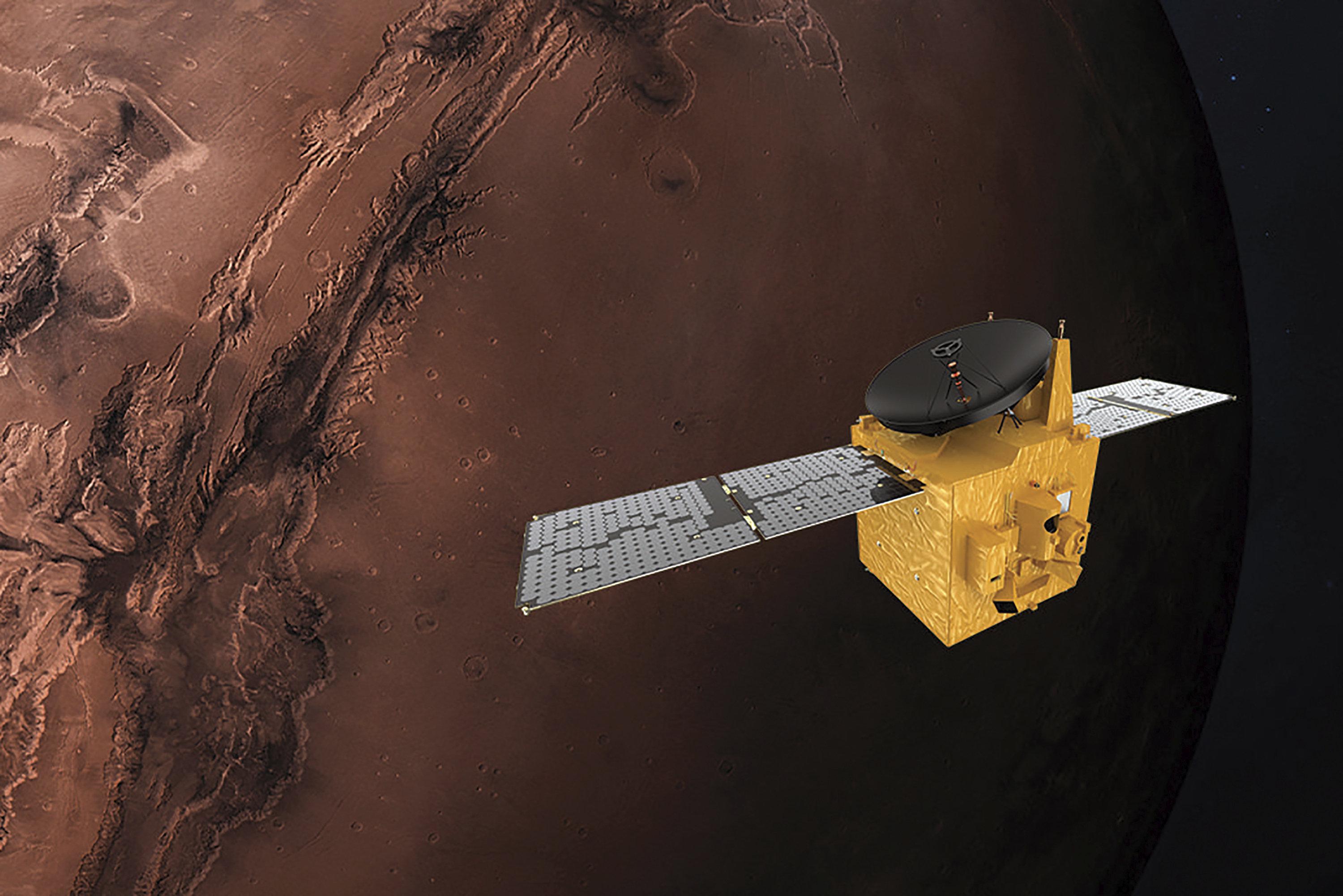 The probe is aiming to enter Mars's orbit on February 9