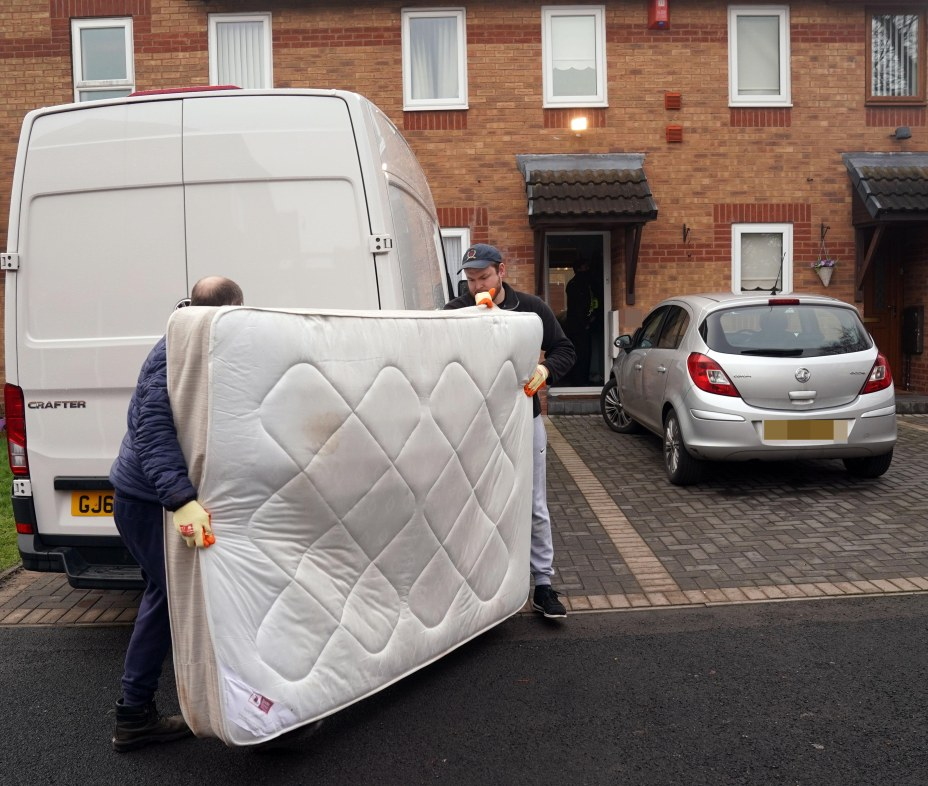 Removal people were seen at the house to take a bed away