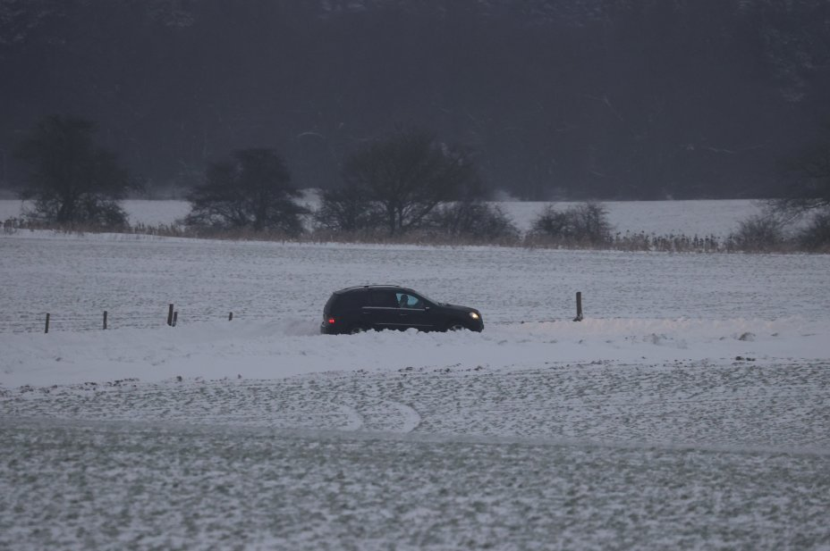 Traffic struggling through the snow on the A249 in Kent
