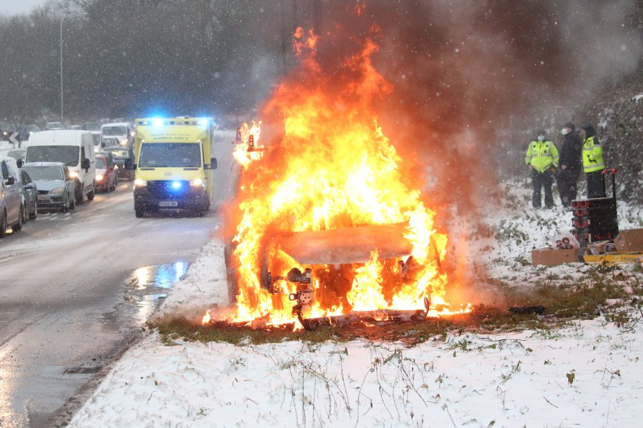 In Maidstone, a van burst into flames on the A229 after the driver turned on the heater in a bid to clear snow from the windscreen
