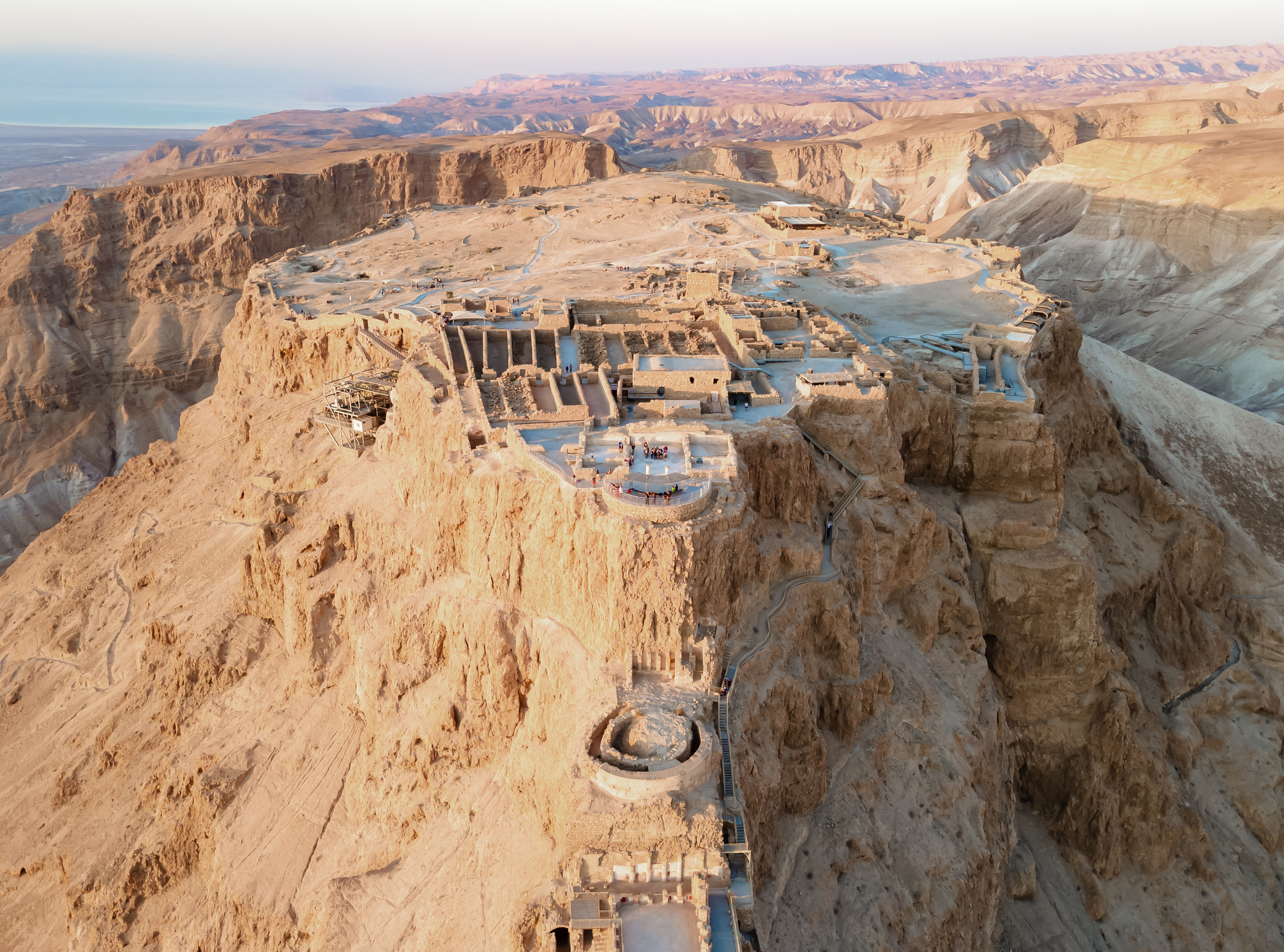 Masada is a Roman fortress in Israel that overlooks the Dead Sea