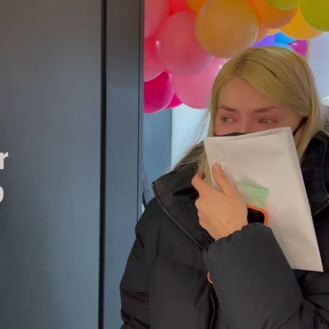 Holly started her day in floods of tears as she was welcomed to the studios