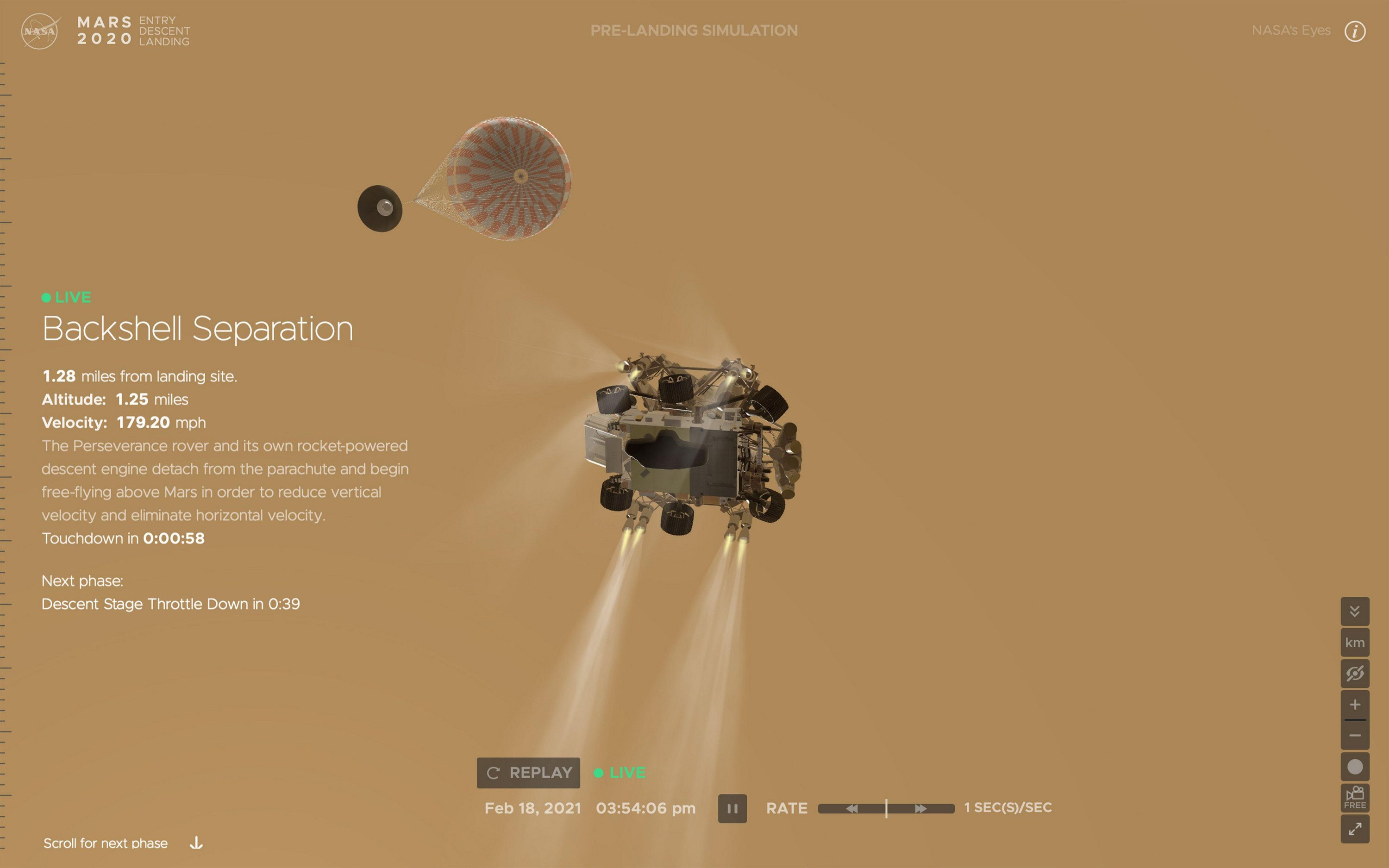 This computer simulation shows NASA's Perseverance Mars rover landing on the Martian surface