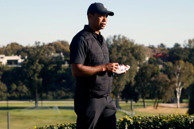 Tiger Woods at the Genesis Invitational golf tournament at Riviera Country Club