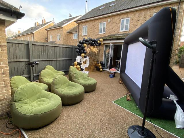 She organised a giant inflatable cinema screen for the evening
