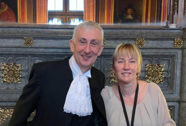 Julia Clifford with the House of Commons Speaker, Sir Lindsay Hoyle