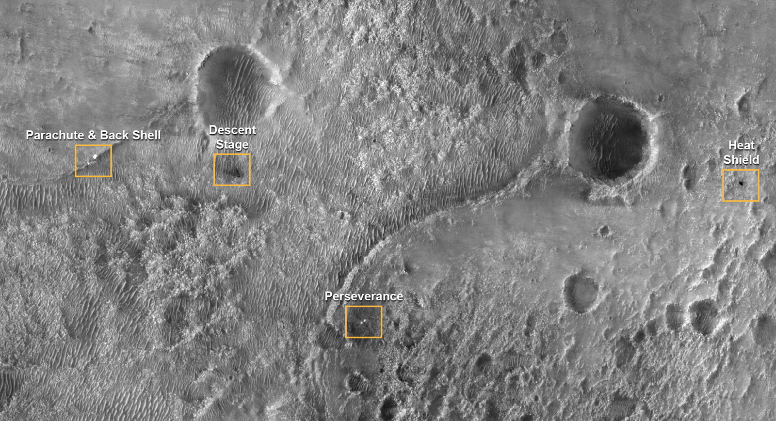 The first image of NASA's Perseverance Rover on the surface of Mars from the High Resolution Imaging Experiment (HiRISE) camera aboard NASA's Mars Reconnaissance Orbiter (MRO)