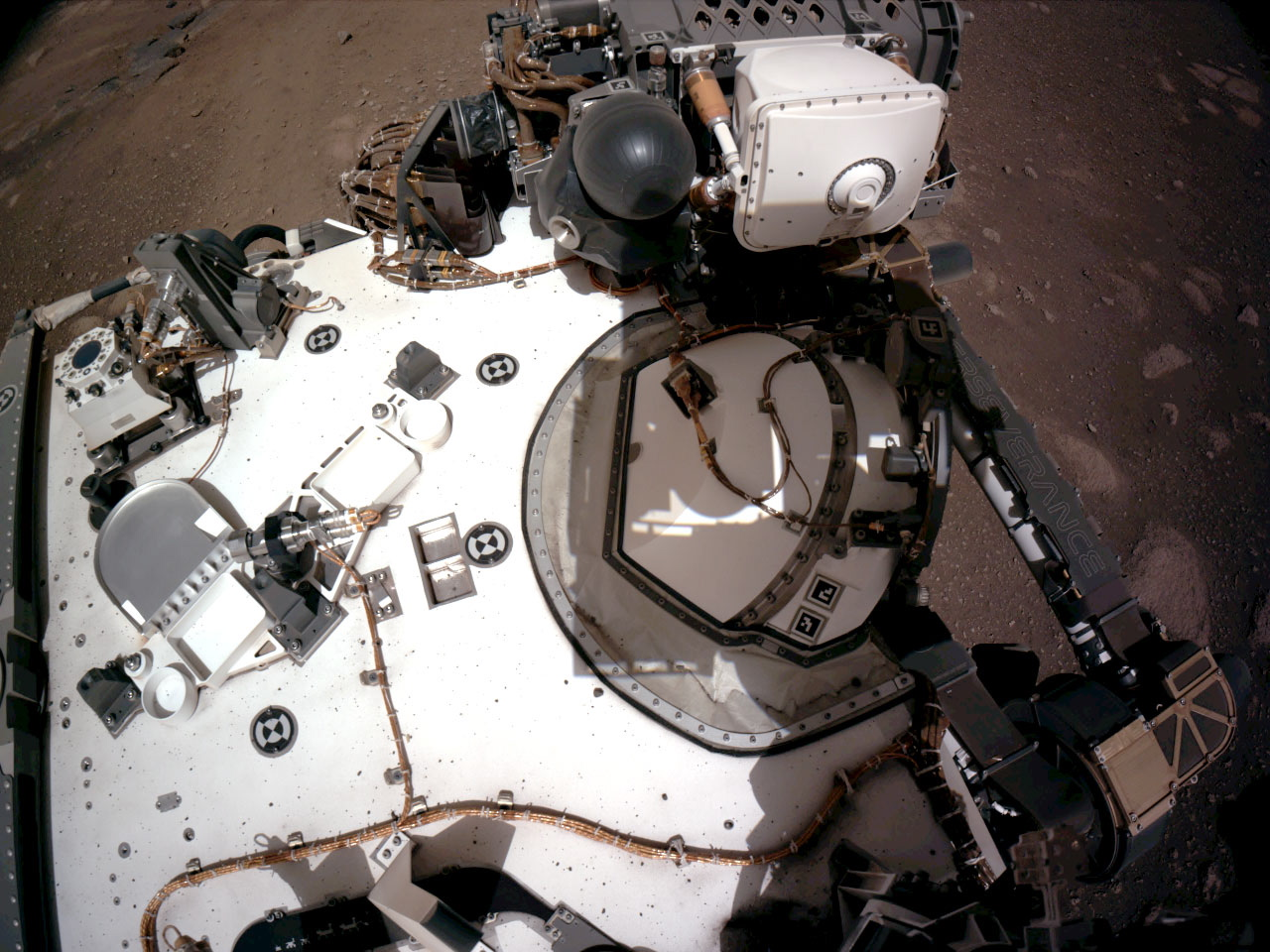 The Navigation Cameras, or Navcams, aboard NASAs Perseverance Mars rover captured in this view of the rover's deck on February 20