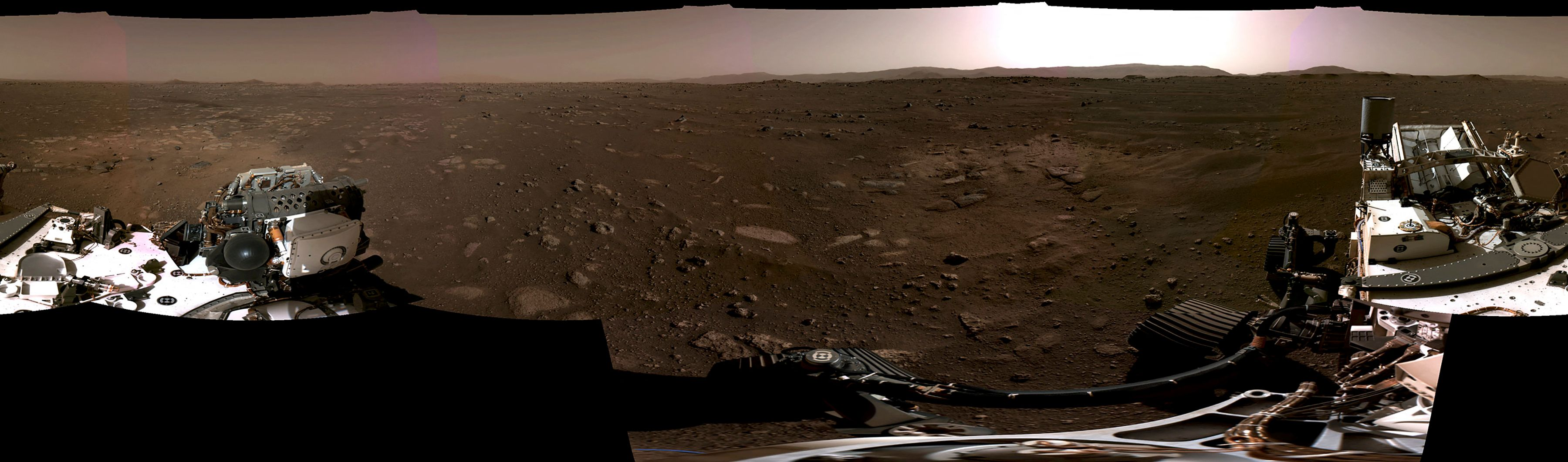 A panorama view of Mars' surface taken by the Red Plant rover