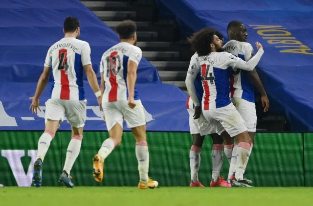 Christian Benteke blasted a last-gasp wonder goal to leave Brighton looking nervously over their shoulders