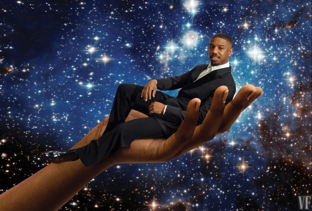 Michael B Jordan poses in a giant hand