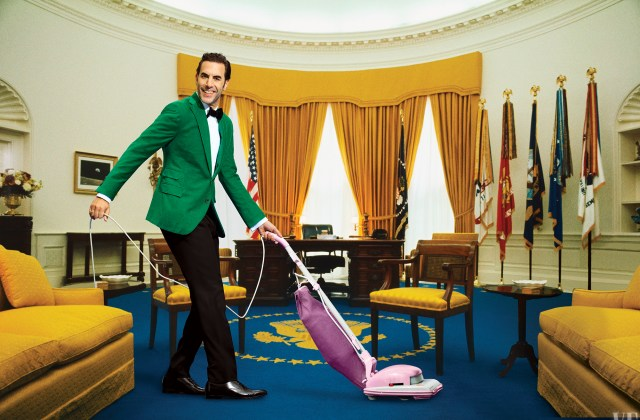 Borat star Sacha Baron Cohen beams while vacuuming the Oval Office of The White House for Vanity Fair's 27th annual Hollywood issue